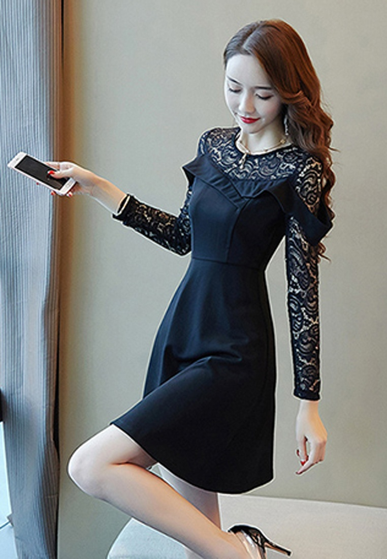 See Shoulder Black Dress Halo Sleeves Through Lace dwxqa7Ed