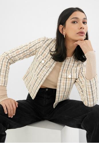 Pomelo beige Striped Tweed Jacket - Beige 55CB7AA2826A19GS_1