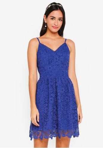 ZALORA blue Bridesmaid Fit & Flare Crochet Lace Dress A36A2AA1734E25GS_1