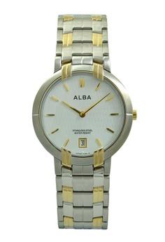 Image of ALBA Jam Tangan Pria - Silver Gold White - Stainless Steel - AVKA80