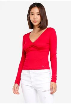2900360855c Hollister red Long Sleeve Slim Vee T-Shirt F2F16AAAB96449GS_1