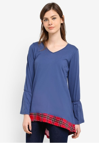 Aqeela Muslimah Wear blue Fishtail Panelled Top AQ371AA0S4VCMY_1