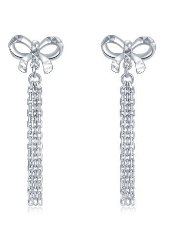 MaBelle silver 14K 585 White Gold Butterfly Tassel Stud Earrings 2D5B2AC4E020F6GS_1