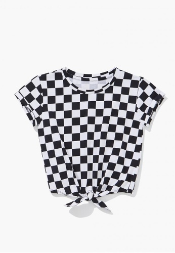 FOREVER 21 black Checkered Print Knotted Tee C68DEKAC93A351GS_1