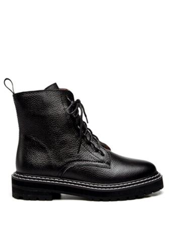Twenty Eight Shoes black VANSA Pebbled Cow Leather Combat Boots VSW-B1987 965ECSHC131B2FGS_1
