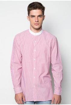 Mandarin Collar Long Sleeved Shirt