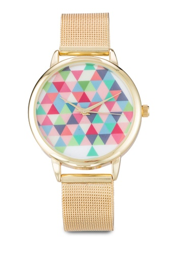 Something Borrowed gold Triangle Graphic Mesh Strap Watch BEE3CAC4ADDB7DGS_1