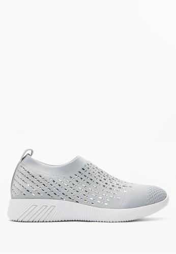 PAZZION grey Crystal Sock Sneakers 29DF9SH4F0F710GS_1