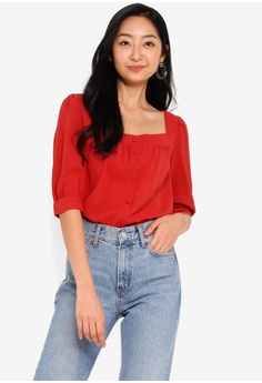 f186237322578c Something Borrowed red Button Down Square Neck Blouse 775F3AAD5421A6GS_1