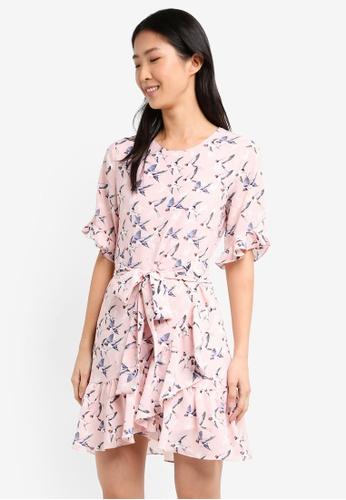 ZALORA pink Belted Ruffle Dress C0D4DAA708F2A8GS_1
