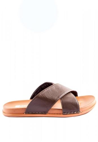 Otto beige Criss Cross Slider Sandals 04731SH12DECD6GS_1