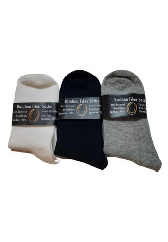 Oxhide grey Socks Men and Women - Bamboo Fibre Socks Light Grey X3 D8741AAA90B2C2GS_1
