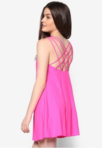 Lozalora 衣服評價ve 交叉背帶寬擺洋裝, 服飾, 洋裝