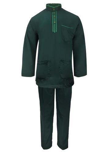 Pacolino green Baju Melayu Cekak Musang with pants For Kids - EBM17886 (Green) E4332KA0E823DDGS_1
