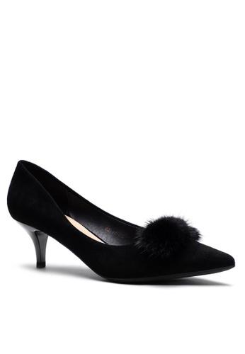 Twenty Eight Shoes 毛毛球尖頭猄布中踭鞋292-52 08328SHD9B35AAGS_1