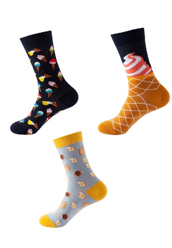 Kings Collection black Set of 3 Pairs Stripes Cozy Socks (One Size) (HS202174-176) D92CEAA67E70C2GS_1