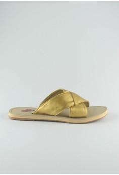 ZC Freya Leather Sliders - Gold