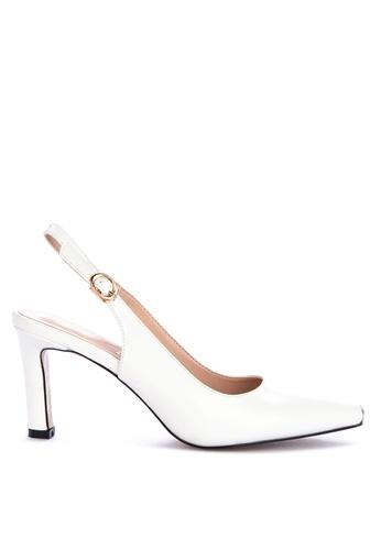 Sofab! white Morgan Sling-back Pointed-toe Pumps 9C03ASH268645CGS_1