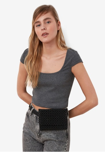 Trendyol black Square Neck Ribbed Crop Top D91A5AAC372D07GS_1
