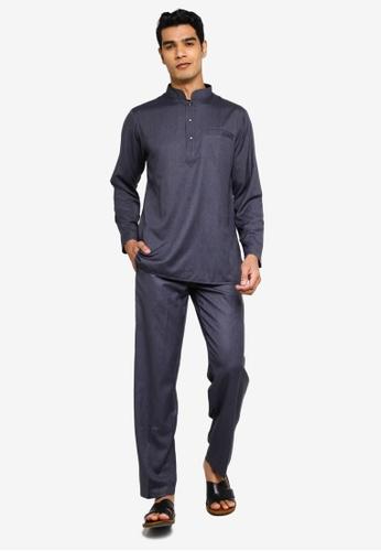 Fidelio grey Jaspar Baju Melayu Slim Fit 124C3AA1C51660GS_1