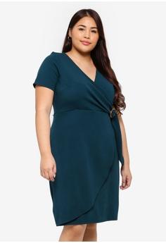 65c1a11e4a Dorothy Perkins green Plus Size Teal Horn Buckle Wrap Dress  78826AAB2DED30GS 1