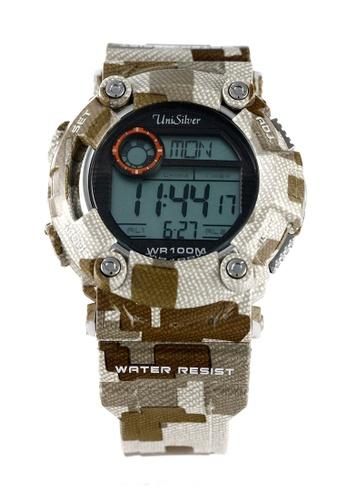 UniSilver TIME brown Camo-D Men's Light Brown Rubber Watch KW1755-1002 UN802AC20HKDPH_1
