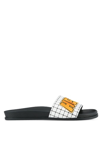 Something Borrowed black and white Patchwork Footbed Sliders E777BSH3FA45EFGS_1