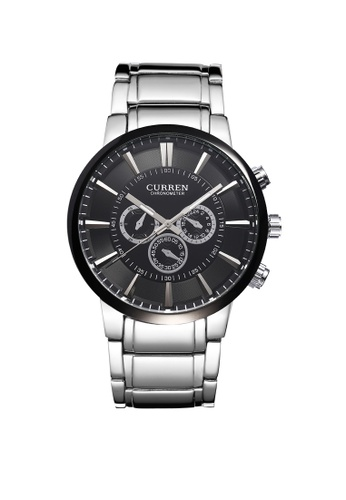 curren silver Curren 8001 Men's Classic Stainless Steel Watch(Silver Black) CU537AC82TCFMY_1