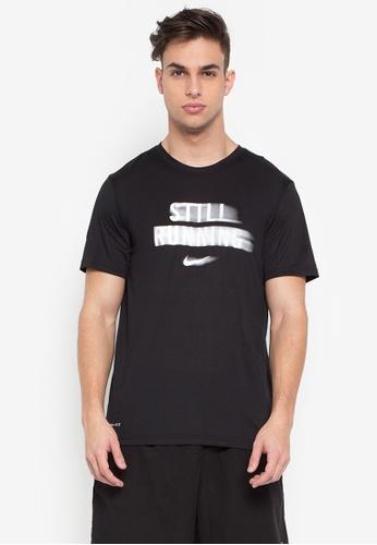 Nike black and white Men's Nike Dry Running T-Shirt NI126AA0STWOMY_1