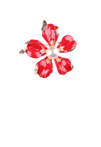 Glamorousky white Fashion and Elegant Plated Gold Enamel Red Flower Imitation Pearl Brooch 374E2AC875BC05GS_1