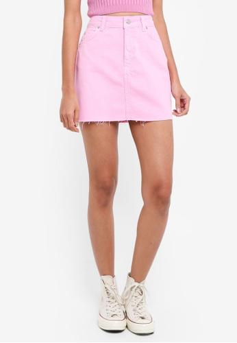 TOPSHOP pink Denim High Waisted Skirt 431FDAAA9A1AF1GS_1