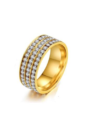 ADORA Stainless Steel Zircon Gold Ring AD365AC2VTJ7HK_1