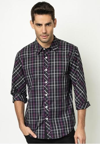CRIMSON black and purple Men's Checkered Long-sleeves Shirt CR426AA65BKKPH_1