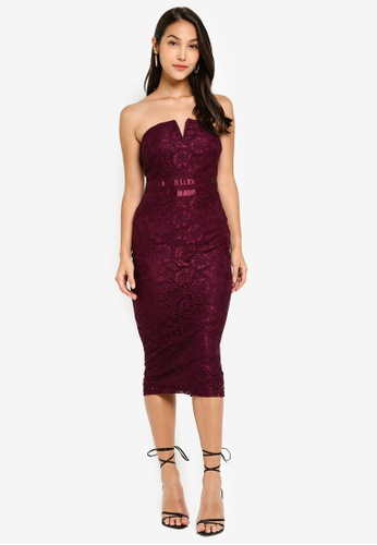 92db3b956933 Buy AX Paris Lace Notch Front Midi Dress Online on ZALORA Singapore