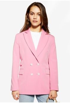 dc57067662a60 TOPSHOP pink Petite Double Breasted Blazer 543B5AABB59DD0GS_1
