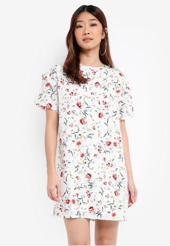 Something Borrowed white Ruffle Sleeve Shift Dress 96B53AA60C1AD9GS_1