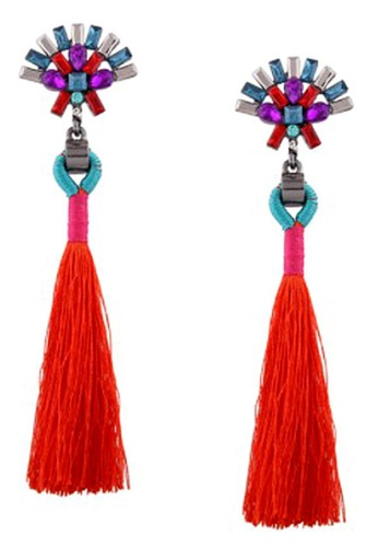 LOVENGIFTS red and multi Fan Design Rhinestone Tassel Drop Earrings (Red) 2BA69ACB4095A8GS_1
