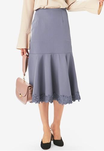 Yoco grey Ruffled Lace Skirt 9281EAAC48D8A0GS_1