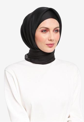 Ilham Echenta for ZALORA black Organza Talia Hijab IL554AA0SY2UMY_1