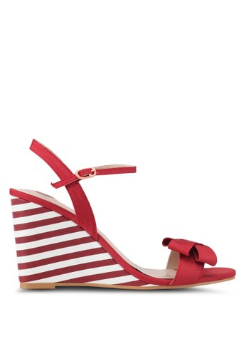 Velvet red and multi Striped Wedges 2A686SH55F1556GS_1
