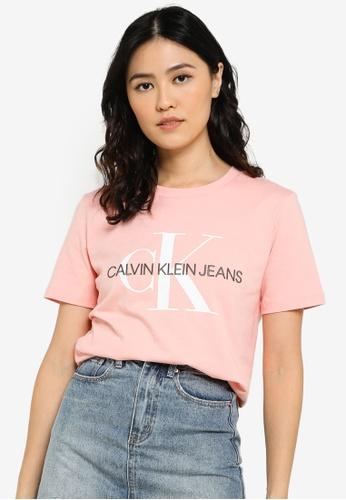 CALVIN KLEIN pink Organic Cotton Monogram Tee - CK Jeans 7CF43AA011A157GS_1