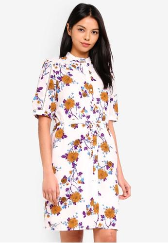 ESPRIT white Floral Midi Dress 4824FAAD5BE434GS_1