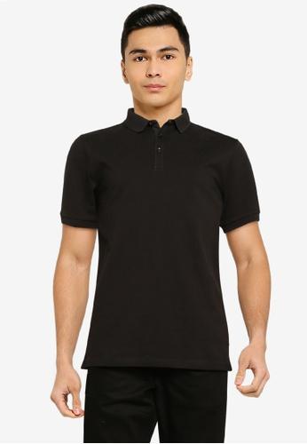 Superdry black Refined Pique Polo Shirt 9C406AA986E380GS_1