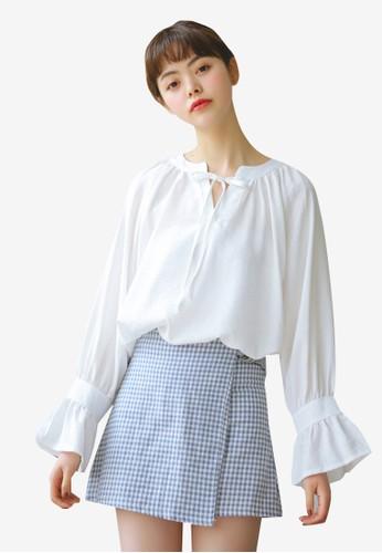 Shopsfashion white Tie A Bow Blouse A0AFBAA7973A4BGS_1