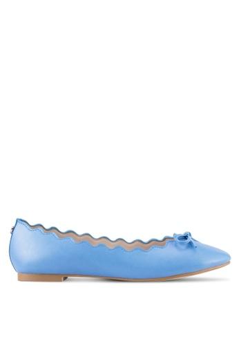 Velvet 海軍藍色 Scalloped Edge Ballerina Flats with Bow 9610ASH4CC255DGS_1