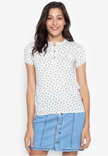 No Apologies white Printed Short Sleeves Blouse C97BCAA6D6F42DGS_1