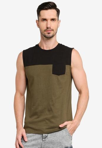 UniqTee 黑色 Colorblock Tank Top With Pocket E59CBAAE6F46E7GS_1