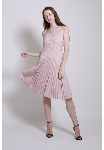 QLOTHE pink Neutral Ground: Jeanne Lace Strap Dress A62E3AAB81F1A4GS_1