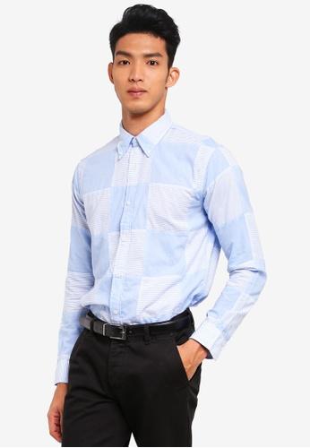 Brooks Brothers 藍色 長袖格紋襯衫 3EE02AA90A9CB2GS_1