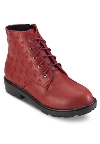 刺繡暗紋繫帶短靴, 女鞋,zalora 內衣 靴子